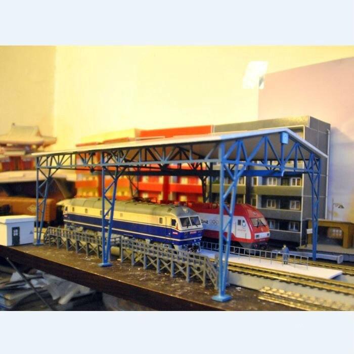 1/87 Modèle Train Ho Échelle Cadre Garage Kit Diy Assembler Modèle Architectural Sable Modèle de Table En Plastique Matériaux Livraison Shippin