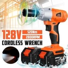Brushless Cordless Electric Wrench Impact Socket Wrench 128V 520Nm Li