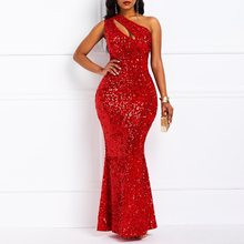 Clocolor Women Maxi Dresses Elegant Sexy Club Party Red Mermaid Solid Sequins Ladies Fashion Luxury Evening Glitter Long Dress