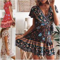 Сексуальное женское богемное платье с цветочным принтом, вечерние Клубные платья с коротким рукавом и v-образным вырезом, повседневное летн...