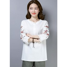 Summer Women Cotton Linen Top Ruffled Collar Flower Embroidery Blouses Female Large Size Plus Shirt
