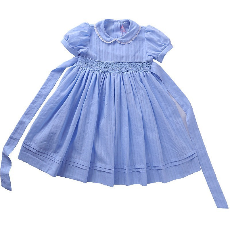 Baby Frocks Summer Kids Smocked Dresses For Girls Clothes White Blue Princess Dress Wedding Children Clothing Boutiques