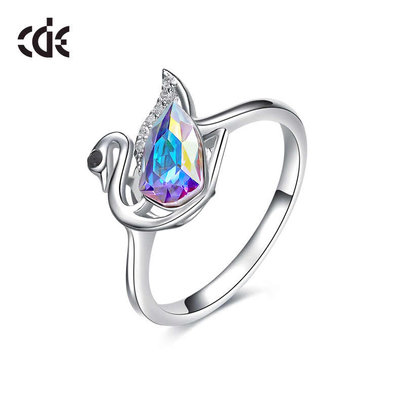 b62e14643 CDE Crystals from Swarovski Swan purity elegant Fashion Fine woman Ring  2019 S925 sterling silver anniversary