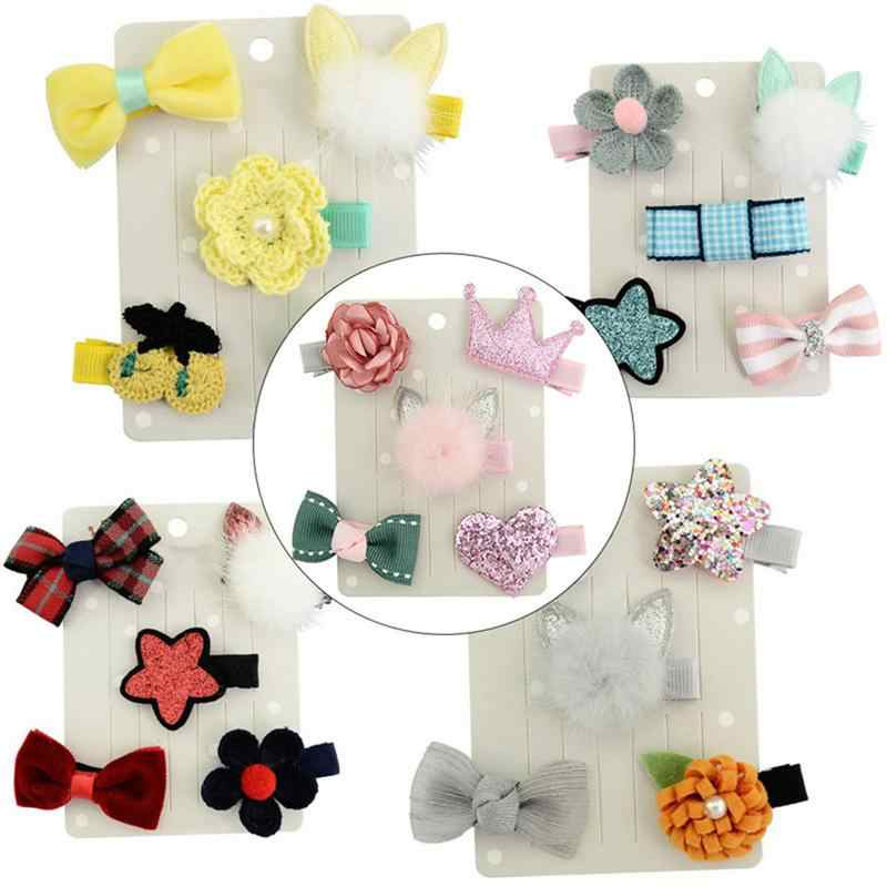5PC Rabbit Ears Hair Ball Hairpin High Quality Girl Hair Band Hair Clip Set Korean Version Of The Girl Boutique Hair Accessories