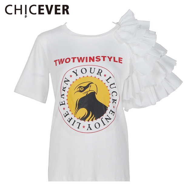 CHICEVER 2017 Summer Personality Short Sleeve Female T shirts For Women Tops Letter Split O neck T shirt Clothes Fashion Korean