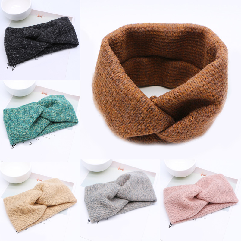 Hot 1PC Korea Women Woolen Headband Cross Hair Band Party Warm Weaving Elastic Fashion Hair Accessories 6 Colors