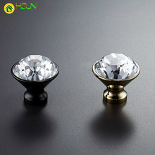 Diamond Shape Design Crystal+brass  Clear Cabinet Knob Drawer Pull Handle Kitchen Door Wardrobe Hardware