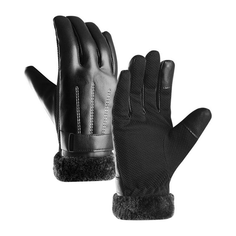Winter Riding Leather Gloves Men's Plus Velvet Thickening Ski Windproof Waterproof Touch Screen Warm Gloves