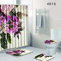 4Pcs/Set Flowers Printing Series Non Slip Toilet Pad Cover Bath Mat + Shower Curtain Set