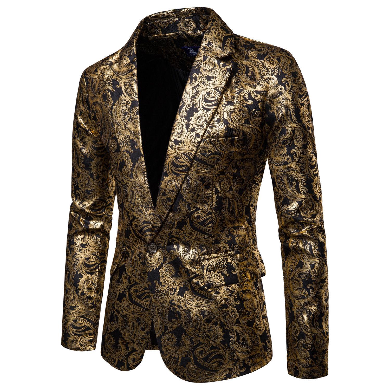 Men Blazer Suit Gold-Foil Stage Wedding One-Button Printed Floral Casual Club DJ Slim