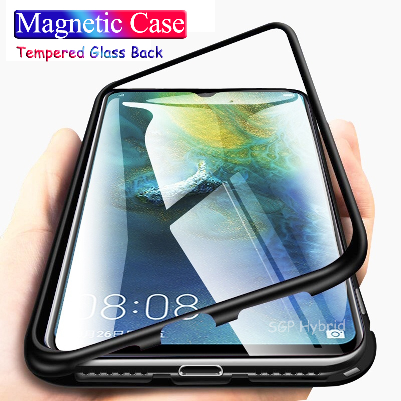 P30 Pro Magnetic Flip Case for Huawei <font><b>Hawei</b></font> P30 <font><b>Mate</b></font> <font><b>20</b></font> x pro <font><b>lite</b></font> 20x Case Glass Hard Back Cover Metal Frame Protection Coque image