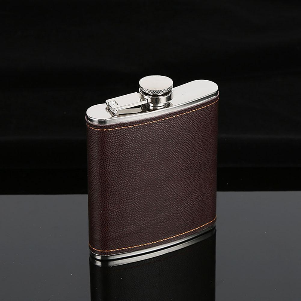 Brown Leather Wrapped Hip Flask Lightweight Stainless Steel Body #2 8oz