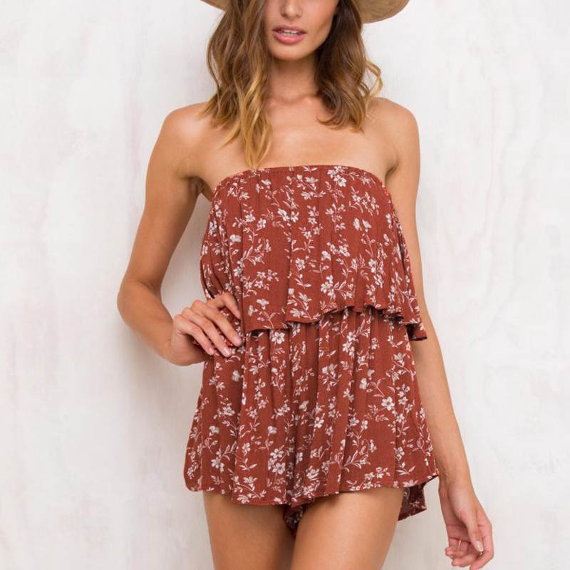 Women Romper Jumpsuit Summer Sexy Ruffled Off Shoulder Backless Bandeau Bodysuit Casual Floral Print Beach Playsuits Jumpsuit