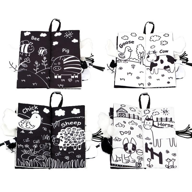 Baby Cloth Book Early Puzzle Teaching Aid Black White Tail Cloth Book For Toddler Kids Visual Experience Interaction Games Toys