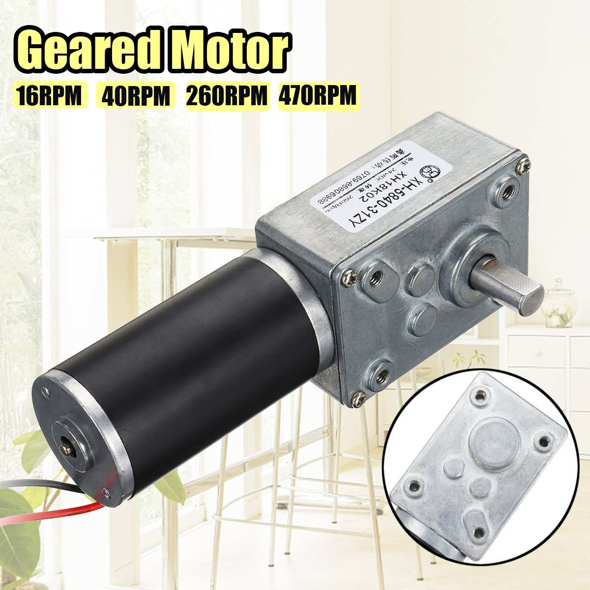 <font><b>DC</b></font> 24V Gear Reduction <font><b>Motor</b></font> Turbo Geared <font><b>Motor</b></font> 16/40/260/470RPM Mini Electric Gearbox Reducer For Intelligent Curtain <font><b>Motor</b></font> image