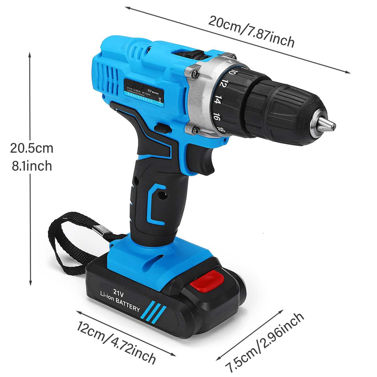 21V 6500mAh 2-Speed 2200RPM Electric Screwdriver Kit 2 Li-Ion Batteries Rechargeable LED Electric Cordless Drill Power Tool 10mm