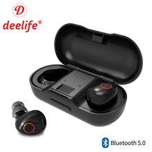 Deelife TWS 5,0 Bluetooth наушники 3D стерео беспроводные наушники с двойным микрофоном спортивные истинные беспроводные наушники