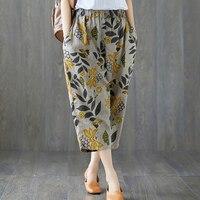 Summer Cotton Linen Capris Women Pants Pantalon Femme Elastic Waist Harem Pants Casual Loose Floral PrintTrousers