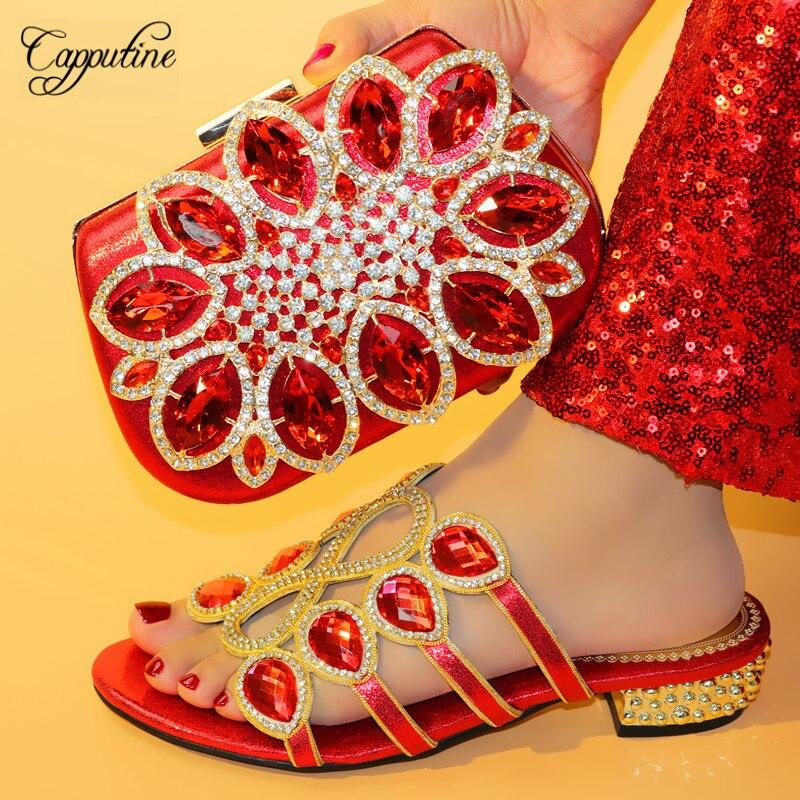 Chaussures Assorti argent Pour Italien Mariage rouge Ensemble Récent Or Le Sac Rouge Couleur pourpre Robe Capputine Conception Africain Plus Femmes Pompes Et PqzZfYw1