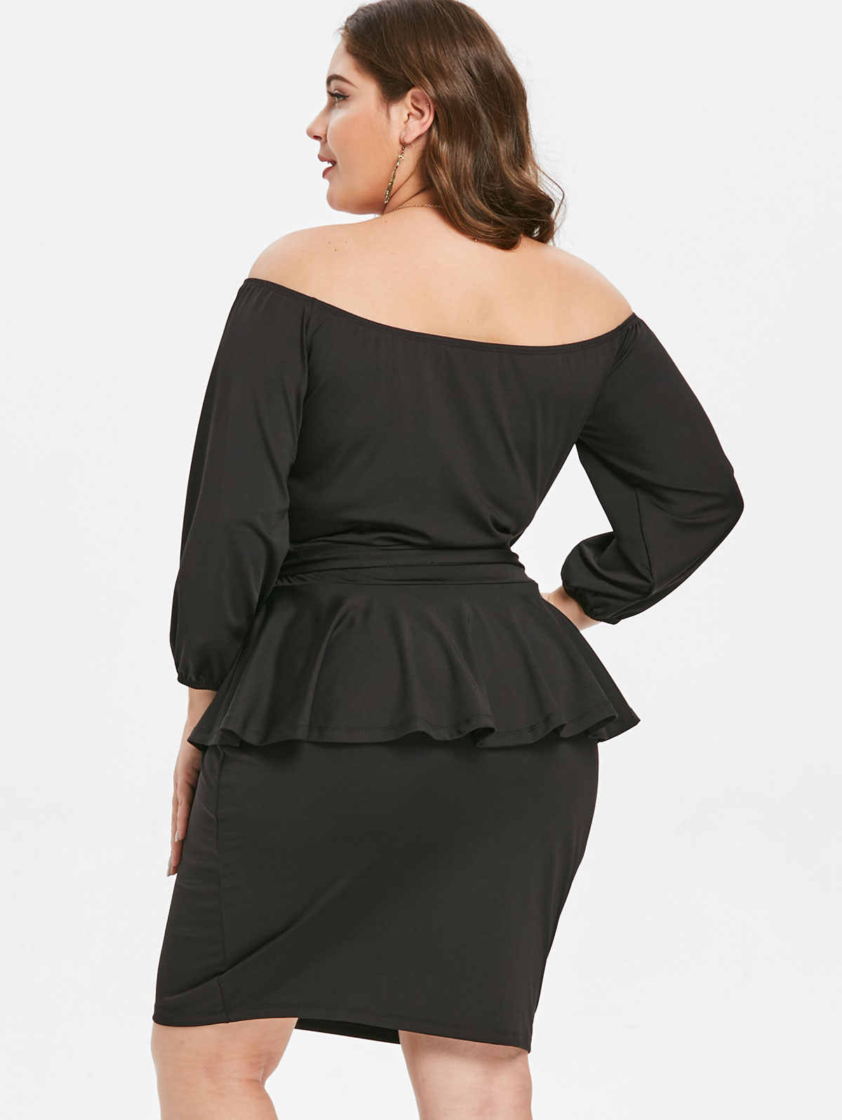 ... Wipalo Plus Size Off The Shoulder 3 4 Sleeves Belted Peplum Dress Women  Clothing Winter ... 0a10dc398f55