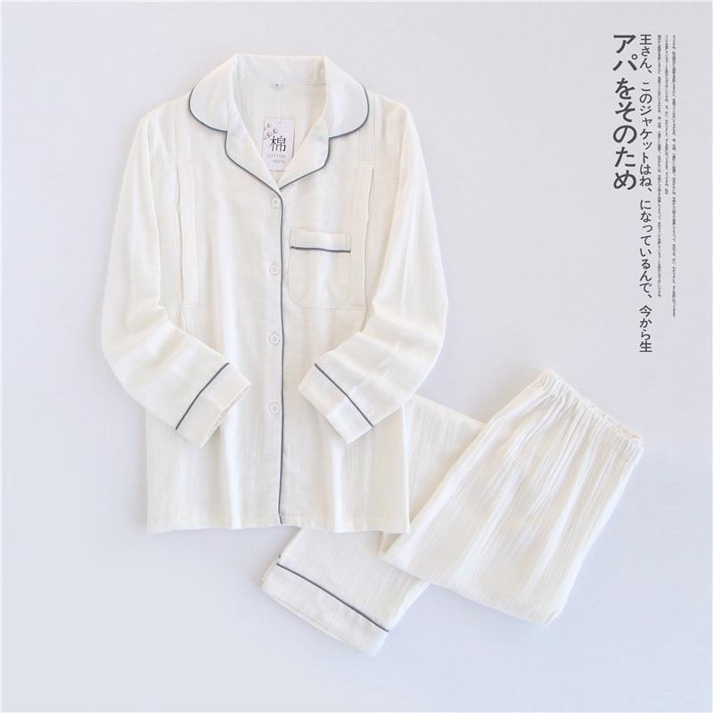Image 5 - 100% Cotton Crepe Long sleeved Breast Feeding Pajamas Solid Pijama Mujer Summer Plus Size Pijamas Loungewear Sleepwear Home Set-in Pajama Sets from Underwear & Sleepwears