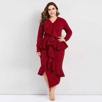 Plusee Bodycon Dress Phụ Nữ Cộng Với Kích Thước Không Đối Xứng Hem Phong Cách Chắp Vá Ruffles Nữ Buổi Tối Bên Rắn Thanh Lịch Váy Sexy