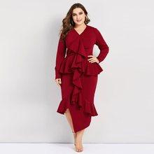 Plusee Bodycon Dress Women Plus Size Asymmetric Hem Stylish Patchwork Ruffles Ladies Party Evening Solid Elegant Sexy Dresses