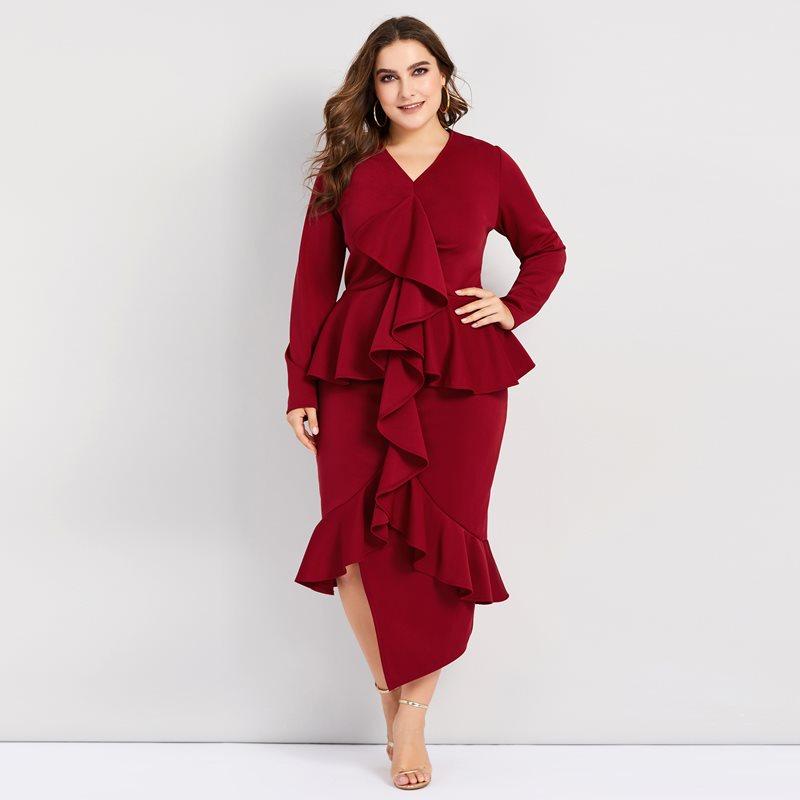 Pluzee облегающее платье для женщин, большие размеры, асимметричный подол, стильные Лоскутные оборки, вечерние однотонные элегантные сексуаль...