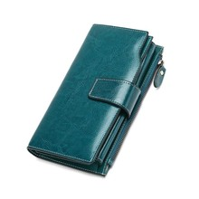 Купить с кэшбэком Rfid Genuine Leather Wallet Women Wallets With Phone Pocket Female Coin Purse Zipper Money Pockets Long Clutch Bags Card Holders