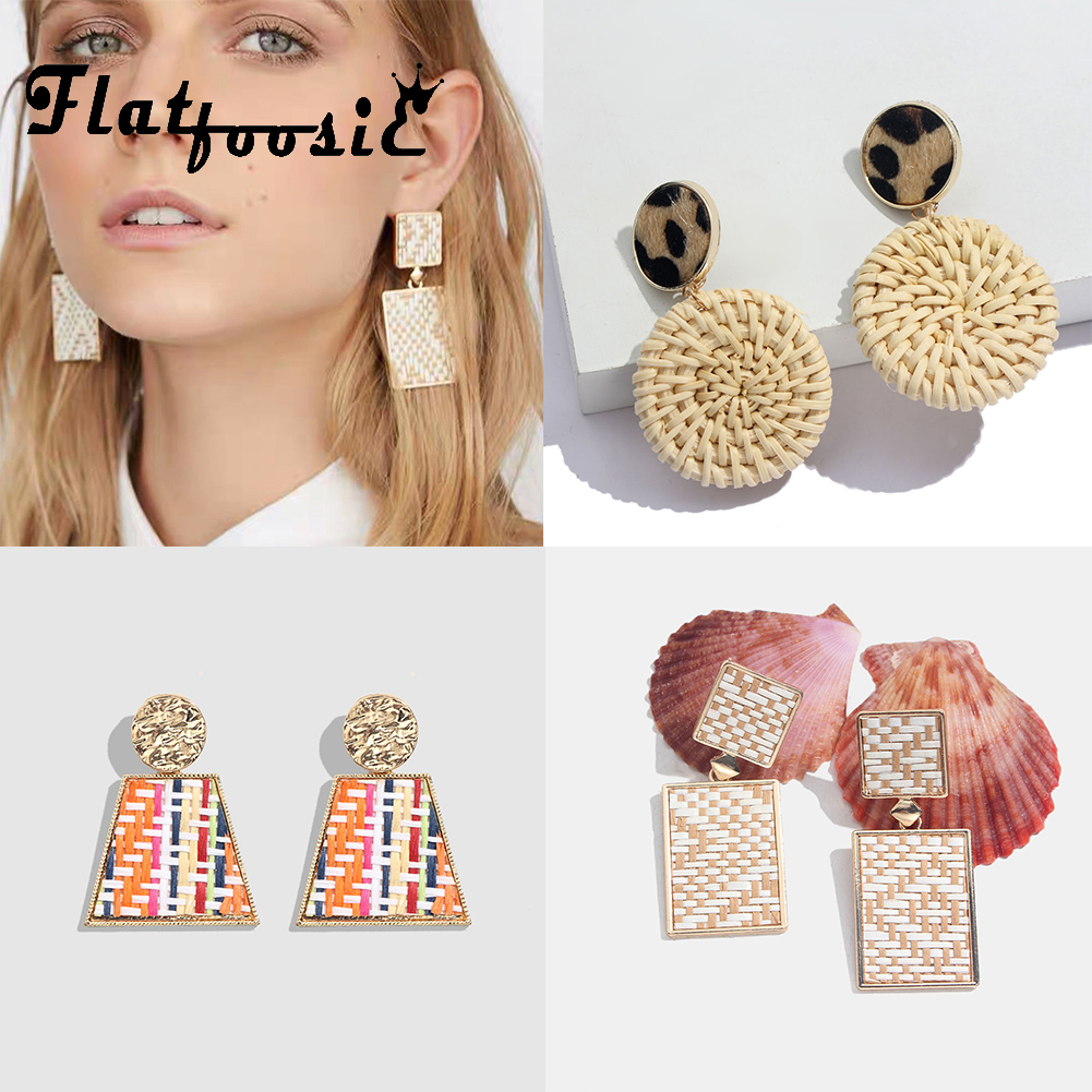 Flatfoosie 2019 New Handmade Wooden Rattan Knit Hanging Earrings For Women Fashion Boho Round Drop Earring Jewelry Accessories