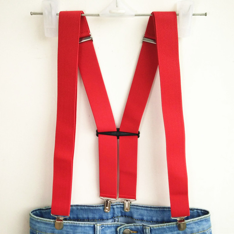Red Color Unisex Adult Suspenders Men Easy Adjustable High Elastic Strap Suspender For Wedding Women Accessories BD056