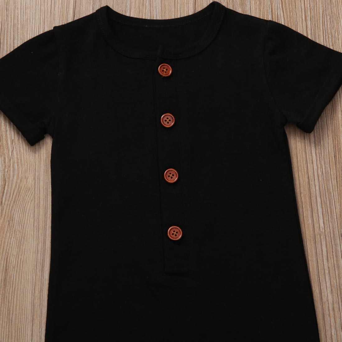 Mameluco para bebé niña de 0 a 24M, ropa de escalada, mono sólido de manga corta y cuello redondo, trajes disponibles en negro y gris