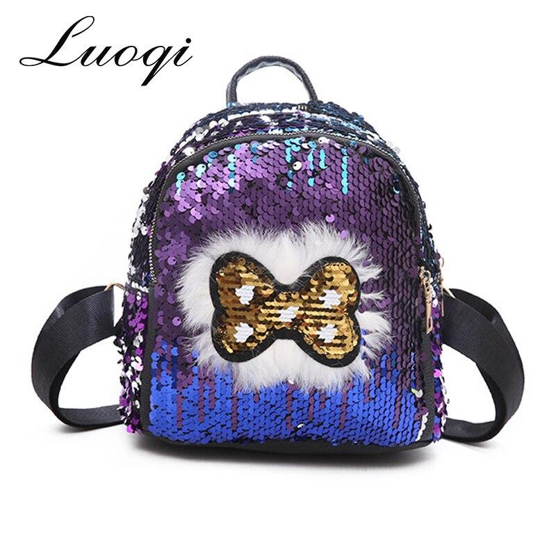 36e8d1a7839f Купить LUOQI брендовые Модные женские рюкзаки Bling пайетки PU кожаные сумки  высокого качества маленький рюкзак школьные сумки сумка для леди Цена Дешево
