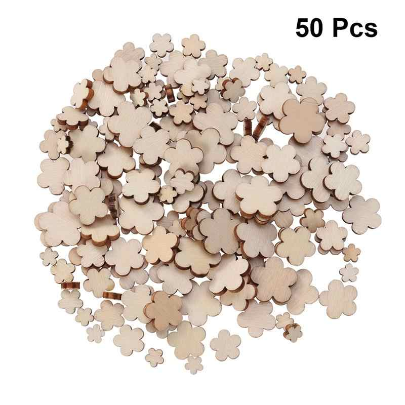 50pcs DIY Wooden Slices Plum Blossom Shape Wooden Circles DIY Pendant Accessories Hanging Ornament DIY Arts Crafts Decoration