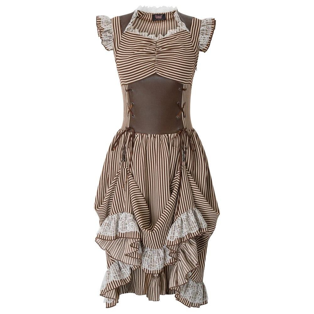 coffee Manches Corset Steampunk Sans Wine Vintage Robe Gothique S 50 Femmes Victorien Longues Dépouillé Robes UpMVSzq