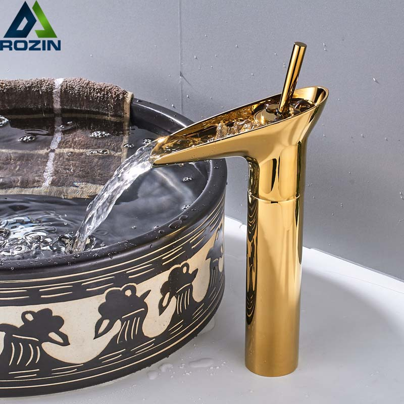 Golden Waterfall Spout Basin Faucet Deck Mounted Single Handle Bathroom Vessel Sink Mixer Tap One Hole