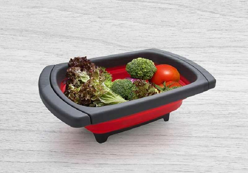 Складной фильтр для мытья овощей силиконовая корзина раковины с ручкой фруктов