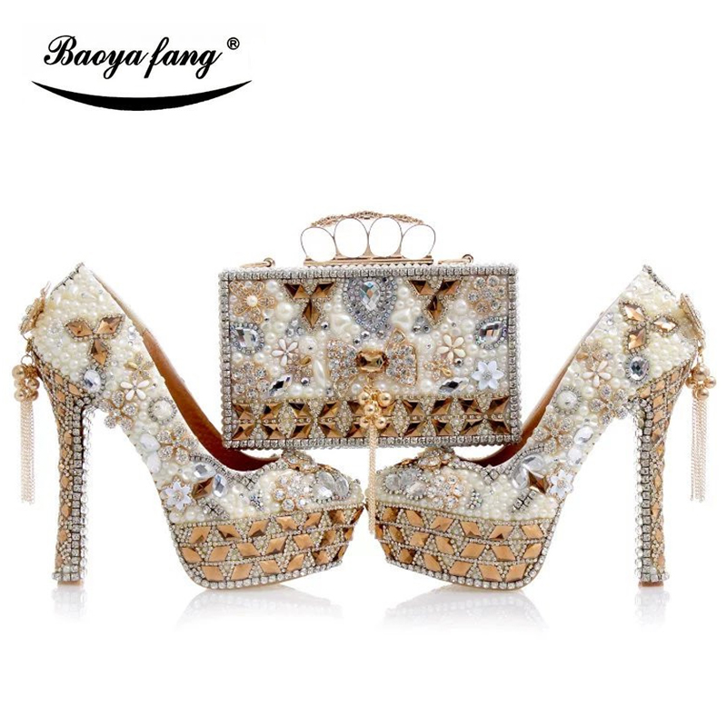 Luxury cyrstal wedding shoes with matching bags woman fashion High heels Women party dress shoes round