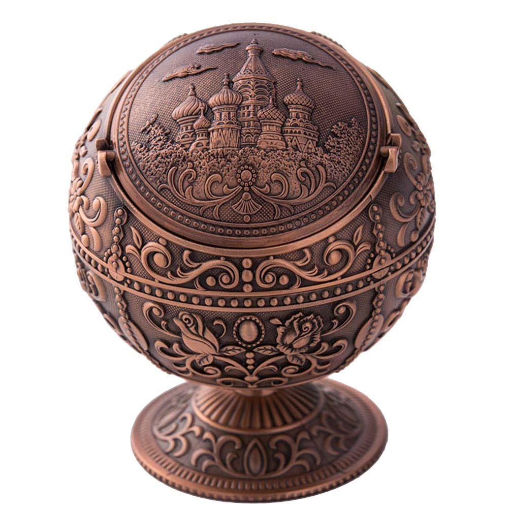 Image 3 - 1 Pc Ashtray Embossed Flower and Castle Creative Vintage Portable Ash Holder Ash Tray for Outdoor Home Indoor Use-in Ashtrays from Home & Garden