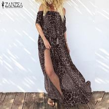 2019 ZANZEA Women Maxi Dress Summer Sexy Off Shoulder Leopard Print Long Vestidos High Split Beach Sundress Sarafans Robe Femme