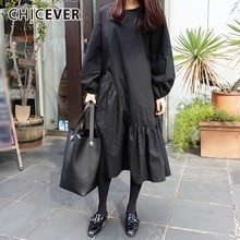 CHICEVER Spring Autumn Dresses For Women O Neck Puff Sleeve Loose Patchwork Black Dress Female Clothes Oversize Fashion New 2020