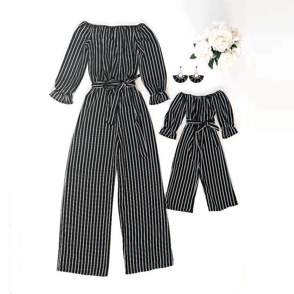 d6167409a0d1 Detail Feedback Questions about 2019 Summer Family Clothing Matching Mom  Daughter Kids Clothes Off Shoulder Romper Striped Jumpsuit Outfits on ...