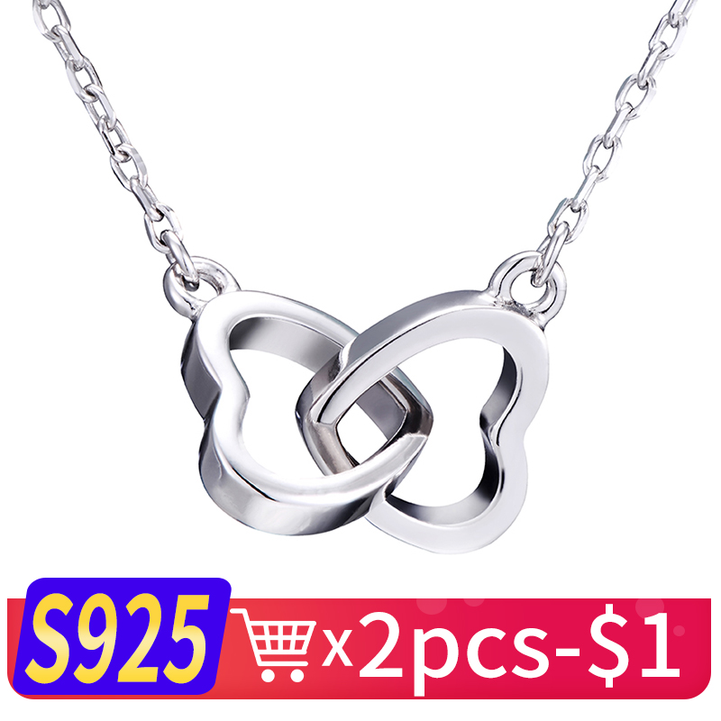 WK Tiny Heart Necklace 925 Sterling Silver Necklace Women Chain Heart Love Pendant Jewelry For Girls Trendy Gift NEW 2018 NB001 купить в Москве 2019