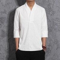 #4405 Summer Blue/White/Black Kimono Cotton Linen T shirt Men Chinese Style Retro V neck Linen T shirt Thin Vintage Tee Shirt