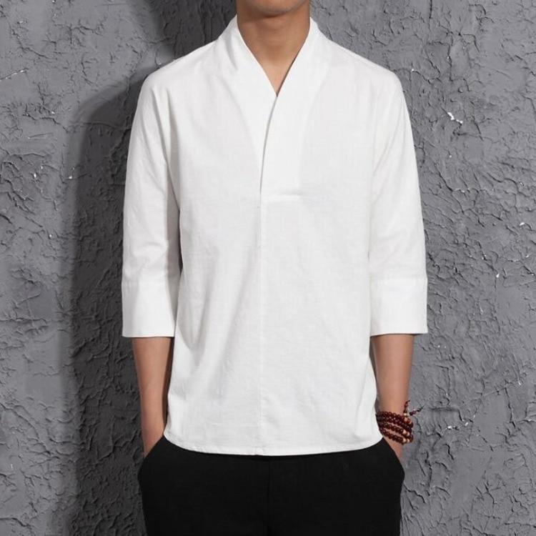 #4405 Summer Blue/White/Black Kimono Cotton Linen T Shirt Men Chinese Style Retro V-neck Linen T-shirt Thin Vintage Tee Shirt