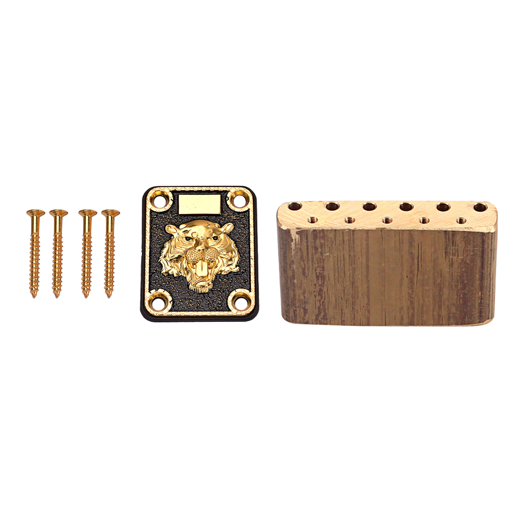 Tooyful Durable Brass Bridge Tremolo Block with Zinc Alloy Neck Plate for  ST Electric Guitar Accessory