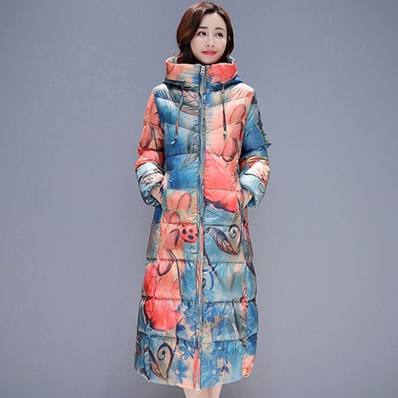 Winter Women Thick Fashion Color Print White Duck   Down   Jacket Loose Long   Coat   Female Paragraph Plus Size Hooded Warm Overcoat 88