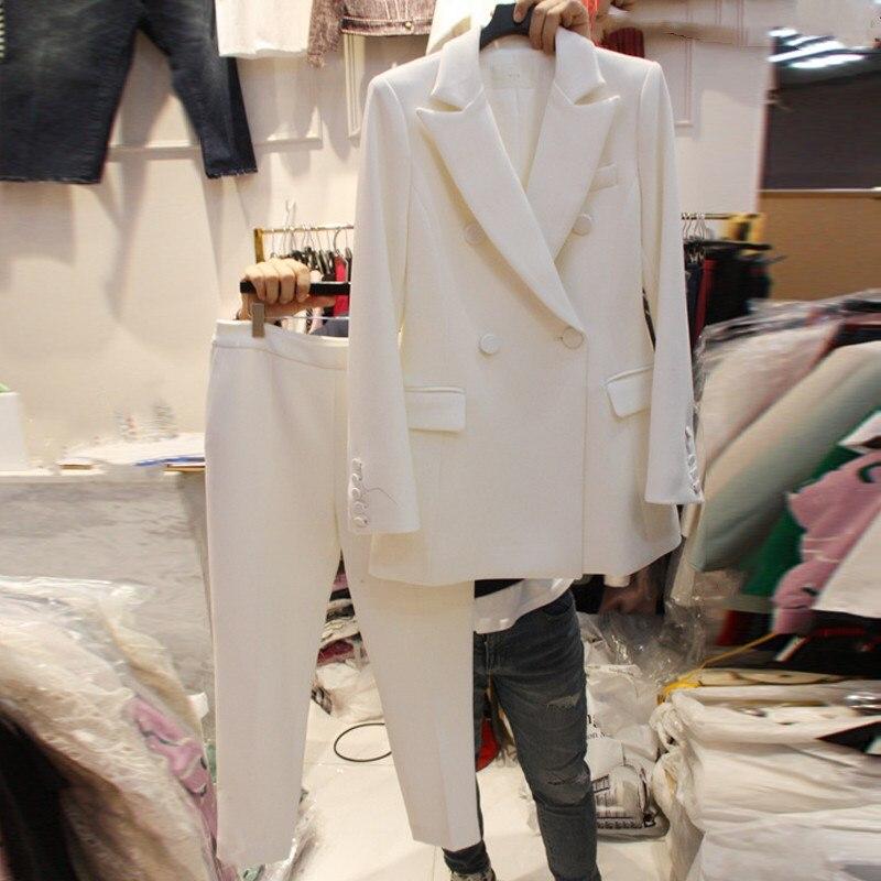 Veste Pantalon noir Printemps Slim Complet Rouge Perles Ensemble Nouvelle Collier De Tempérament Small rose Pièces 2 blanc Costume Coréenne En qfXEUwrX