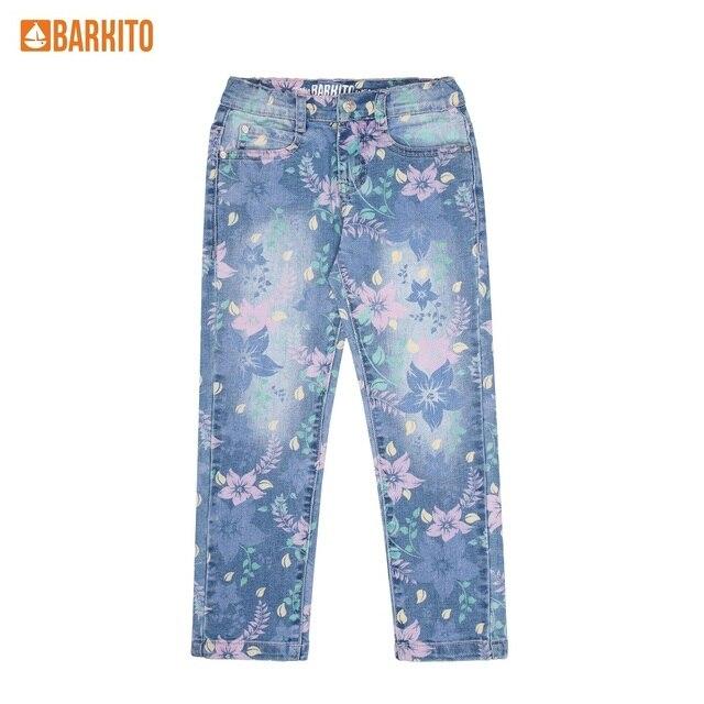 Джинсы для девочки Barkito, голубые с рисунком