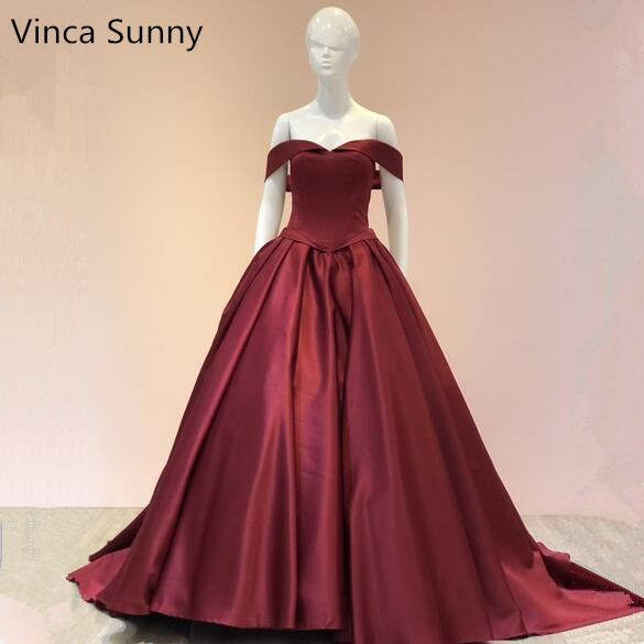 Vinca Sunny Sexy V Neck Ball Gowns   Prom     Dresses   2019 Open Back Lace Up Burgundy Stain Evening Party Gown Vestido de festa
